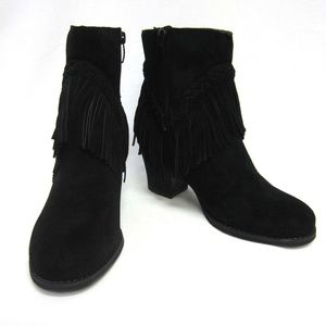 379f7028c Sbicca Shoes | Boots Black Fringed Heels Patience Womans | Poshmark